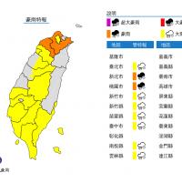 颱風米克拉外圍環流影響 全台灣16縣市大雨豪雨特報
