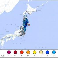日本東北外海12日發生規模6.1地震 311重災區震度多為4級