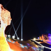 Queen's Head holding court amid light shows in Taiwan's Yehliu Geopark