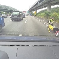 Video shows rogue scooter rider cause 10 car pile-up on Taiwan freeway