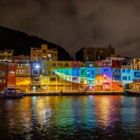 Light sculpture show illuminates Taiwan's colorful northern fishing port