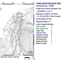 Magnitude 4.7 earthquake rattles northeast Taiwan