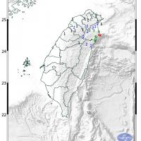 台灣東北部近海7晚發生規模4.3地震 宜蘭最大震度4級