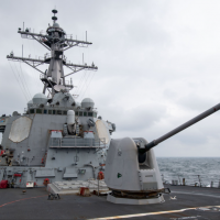 US guided missile destroyer sails through Taiwan Strait