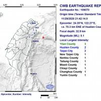 Magnitude 5.1 earthquake rocks eastern Taiwan
