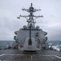 US navy guided missile destroyer sails through Taiwan Strait