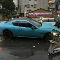 Maserati with rare plate caught in mystery crash in Taipei