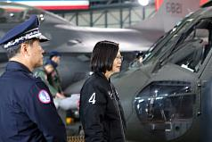 Tsai visits Air Force base in central Taiwan