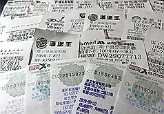 Taiwan receipt lottery winning numbers for November, December