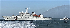 Video shows Taiwan Coast Guard blasting Chinese sand dredger with water cannon