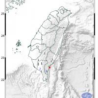 東台灣6日晚間發生地震 台東最大震度4級