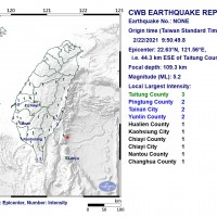 Magnitude 5.2 earthquake rocks southeast Taiwan