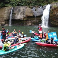 Water sports enthusiasts protest at New Taipei's Lingjiao Waterfall