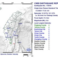 Magnitude 5.8 earthquake rattles southeast Taiwan