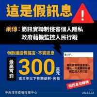 【非監控行蹤】台灣指揮中心:簡訊實聯制僅供疫調 保留28天後銷毀