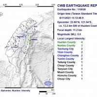 Magnitude 5.0 earthquake rocks east Taiwan