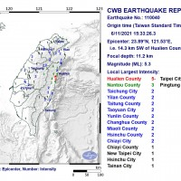 Magnitude 5.3 quake among 3 to strike east Taiwan in 3 minutes