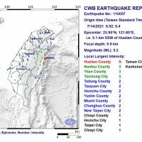 Magnitude 5.2 earthquake rocks east Taiwan
