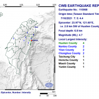 16 earthquakes hit Taiwan's Hualien over course of 15 minutes