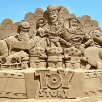 Sand sculpture festival in northeast Taiwan features Pixar-themed art
