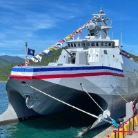 Taiwan president launches domestically made guided missile corvette