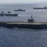 4 US, UK, Japanese carriers patrolled north of Taiwan over weekend