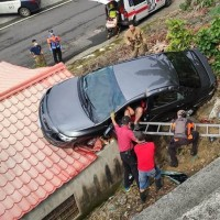 Car carrying 4 people crashes onto house in southern Taiwan