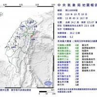 【快訊】台灣18日下午1:49發生芮氏規模5.2地震•震央在花蓮近海 震度4級以上地區:花蓮宜蘭與南投