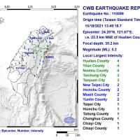 Magnitude 5.2 earthquake shakes east Taiwan