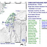Magnitude 6.5 earthquake strikes northeast Taiwan