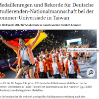 Taiwan's Universiade makes German headlines