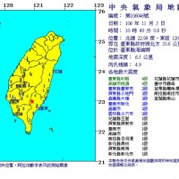 【更新】今(3)日上午 台東連傳規模4.3與4.9地震 僅隔一分鐘