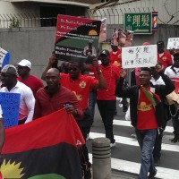 The Indigenous People of Biafra march in Taipei