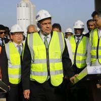 斯里蘭卡總理(中)出席中國工程典禮(圖片來源:美聯社)