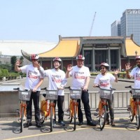 British MP, officials tour Taipei atop YouBike