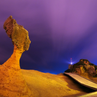 Taiwan's Yehliu allows visitors to admire the iconic Queen's Head rock in the evening