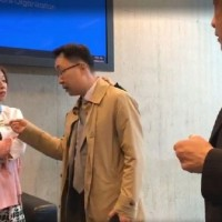 Legislator accosted by Chinese man at WHA event for Taiwan pin
