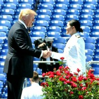 Taiwanese graduate in Taiwan navy uniform receives congrats from U.S. President Trump