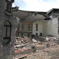 Bulldozers wreck old Catholic church in Taiwan's Yilan County