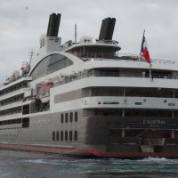 Luxury cruise ship l'Austral docks at Hualien Port in eastern Taiwan