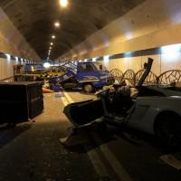 Two dead and three injured when Lamborghini hits trucks in Taipei tunnel