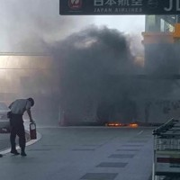 Fire flashes outside Taoyuan Airport Terminal 2 leaving no casualties