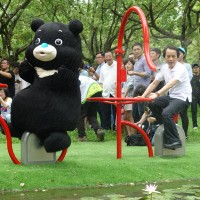 Plant-watering workout machines unveiled at Daan Park, Taipei