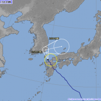 日本氣象廳在台灣時間2018年(平成30年)上午8點整公佈的颱風麗琵最新路徑預測圖(翻攝自日本氣象廳網站)
