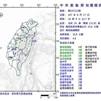 Magnitude-4.8 quake rocks Central Taiwan