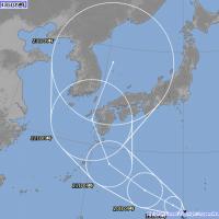 日本氣象廳在日本時間2018年8月18日上午9點公佈的蘇力颱風路徑預測圖(翻攝自日本氣象廳網站)