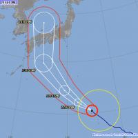 日本氣象廳在日本時間2018(平成30)年中午12點公佈的第20號颱風西馬隆路徑預測圖(翻攝自日本氣象廳網站)