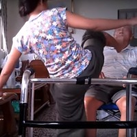 Indonesian caregiver abusing elderly Taiwanese man caught on camera