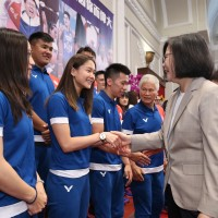 Taiwan President congratulates Asian Games athletes at Presidential Office