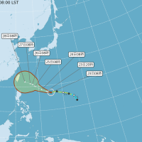 Typhoon Trami predicted path. (CWB image)